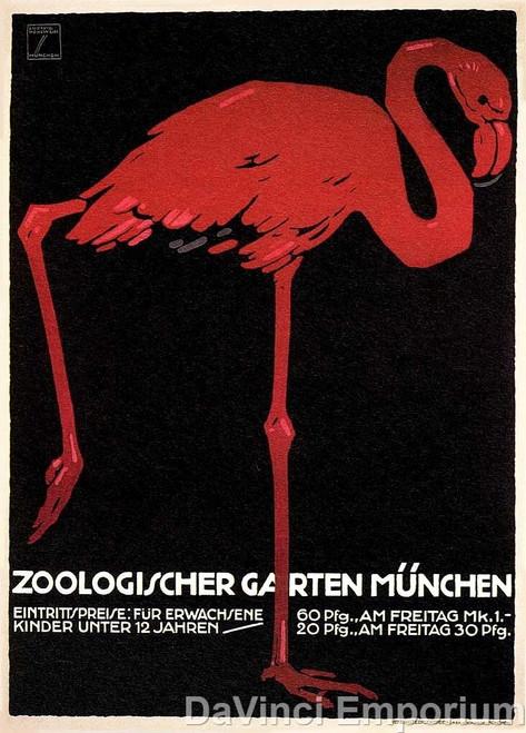Zoologischer Garten Munchen Flamingo Poster Fine Art Lithograph