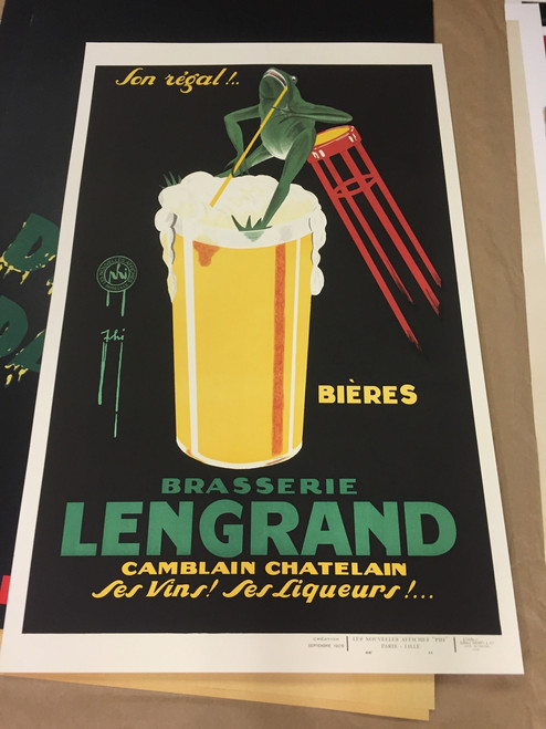 Bieres Brasserie Lengrand Poster Fine Art Lithograph