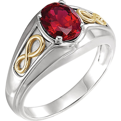Chatham Ruby Infinity Style Men's Ring in 14k White and Yellow Gold