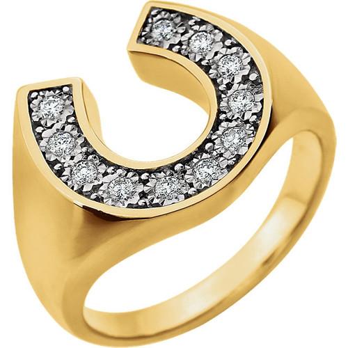 Men's 1/4 CTW Diamond Horseshoe Ring 14K Two Tone Gold