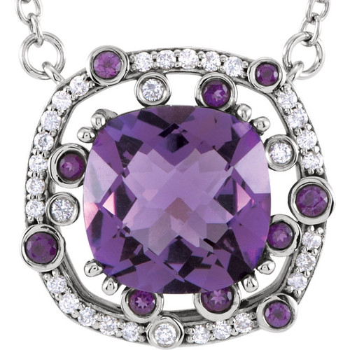 14K White Gold Amethyst 1/6 CTW Diamond Necklace