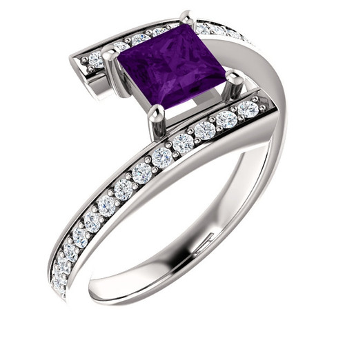 14K White Gold Amethyst 1/4 CTW Diamond Bypass Ring