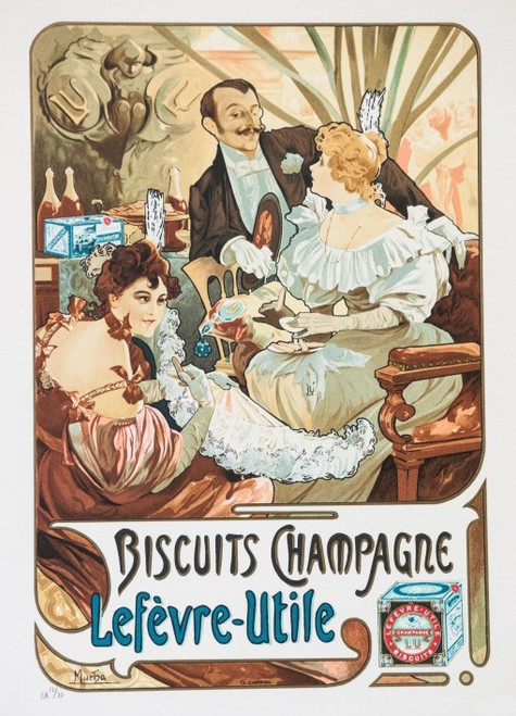 Alphonse Mucha Biscuits Champagne Lefvre-Utile Lithograph