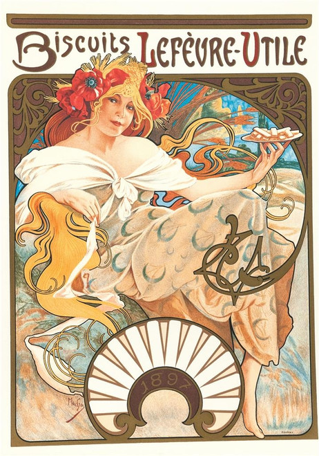 Alphonse Mucha Biscuits Lefvre-Utile Lithograph