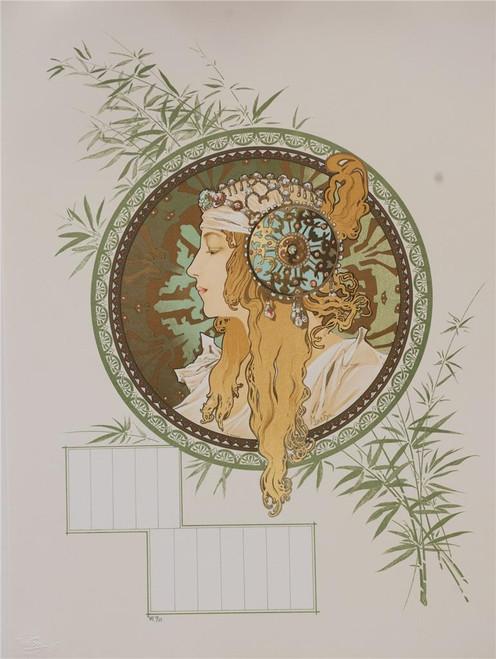 Alphonse Mucha Byzantine Head Blonde  Calendar  Lithograph