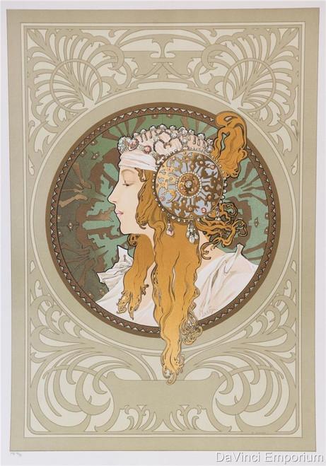 Alphonse Mucha Byzantine Head Blonde Lithograph