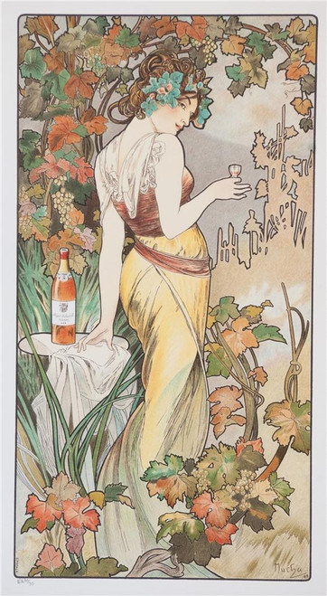 Alphonse Mucha Bisquit Cognac Lithograph