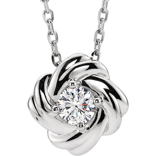 14k Rhodium-Plated White Gold  Diamond Knot Necklace