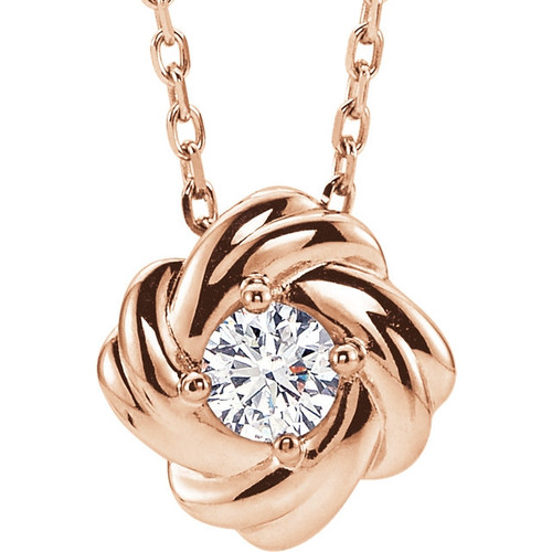1/6 CTW Diamond Knot Necklace 14K Gold