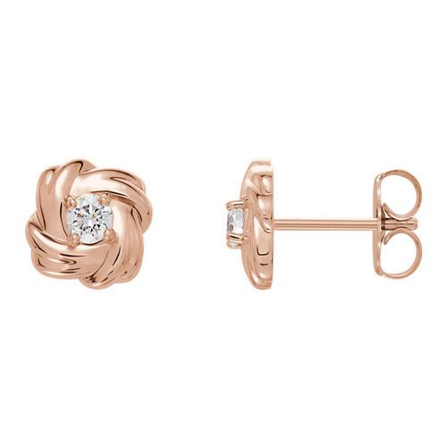 1/5 CTW  Diamond Knot Stud Earrings