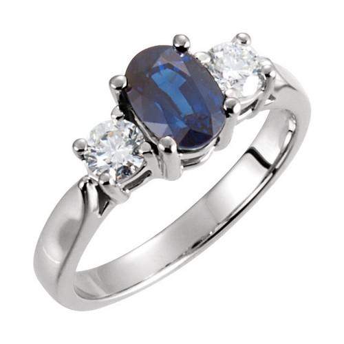 Platinum Blue Sapphire and Diamond Ring