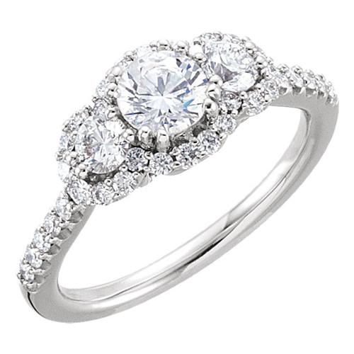 Three Stone 1 CTW Diamond Engagement Ring 14K White Gold