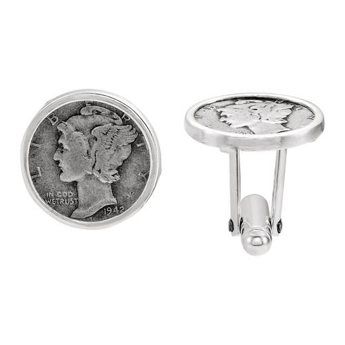 Mercury Dime Coin Cufflinks in Sterling Silver