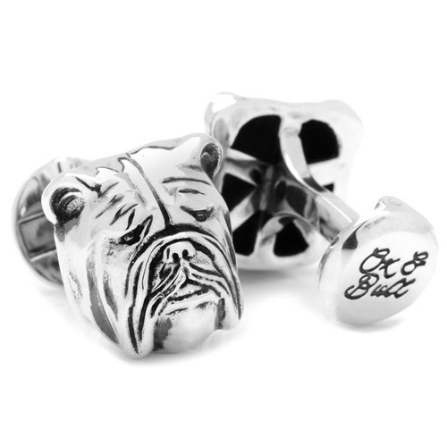 3D Bulldog Cufflinks in Sterling Silver