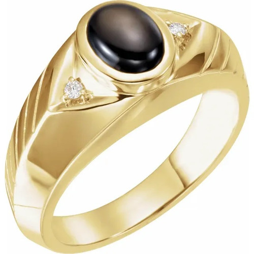 Black Star Sapphire and Diamond Men's Ring 14K  Yellow Gold