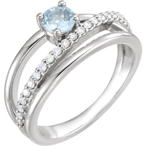 Aquamarine and 1/4 CTW Diamond Bypass Ring 14k Gold