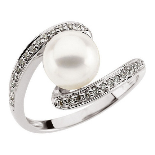 Freshwater Pearl and 1/6 CTW Diamond Ring 14K White Gold