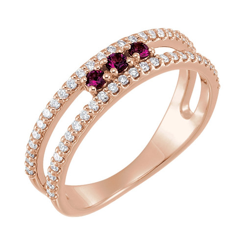 Pink Tourmaline and 1/4 Diamond Negative Space Ring 14K Rose Gold