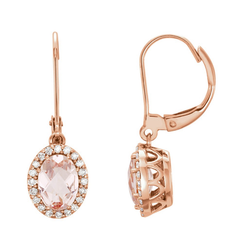 Oval Peach Pink Morganite and Diamond Halo Earrings 14k Rose Gold