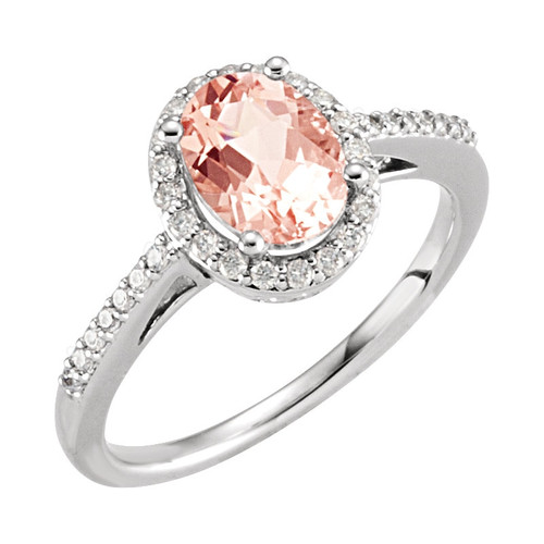 Morganite and Diamond Engagement Ring in 14K White Gold