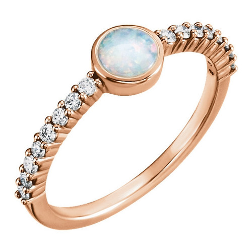 Opal and Diamond Stackable Ring 14k Gold