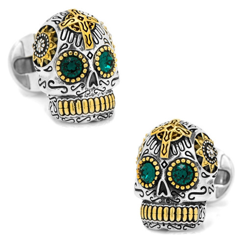 Day of the Dead Skull Cufflinks Sterling Silver and 18k Gold