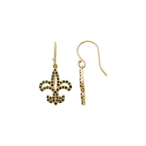 Black Diamond Fleur de Lis Earrings in 14K Yellow or White Gold