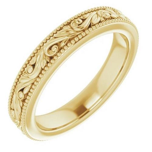 Scroll Wedding Band in 14k Gold
