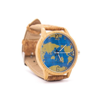 World Map Cork Watch