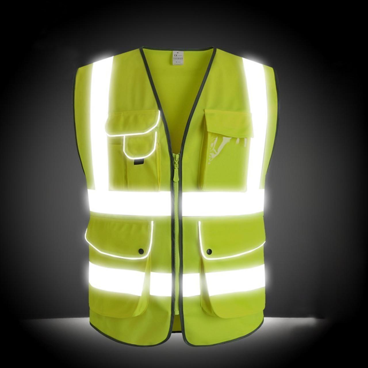 Hi Viz Vest With Reflective Strips 4 Pockets Safety Muti Fuction Workwear New