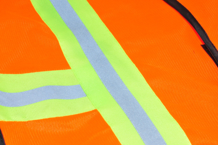 41113 Industrial Safety Vest with Reflective Stripes, Neon Orange