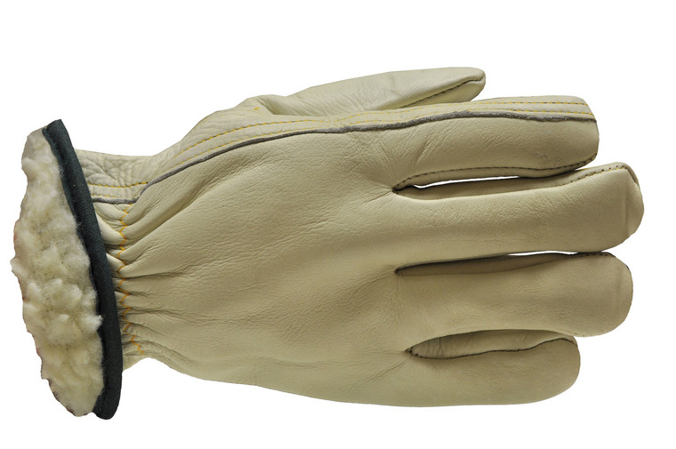 6302-3 Pile Lining Grain Cowhide Leather Work Gloves, Sold by each- 3 Pairs
