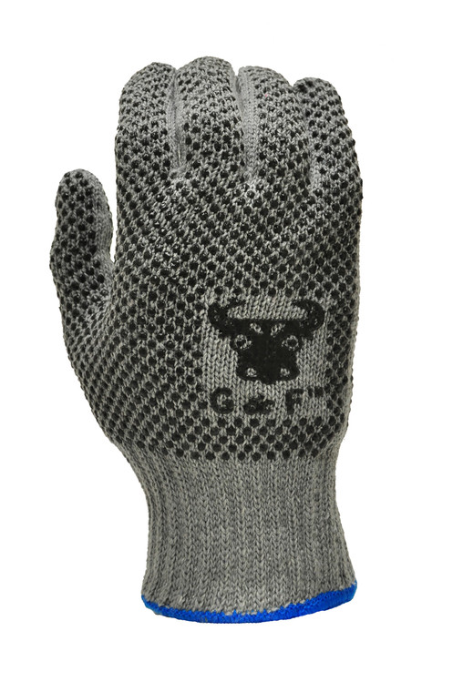 Natural Cotton Work Gloves with double-side PVC Dots