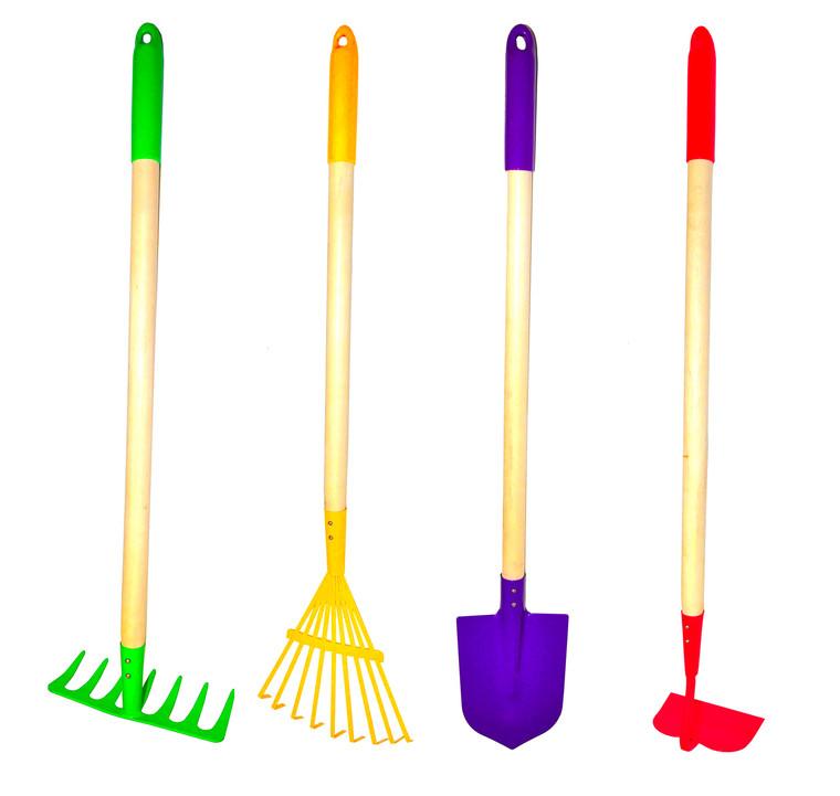 JustForKids 10018 Kids Garden Tools Set, Toy, Rake, Spade, Hoe and Leaf Rake, reduced size, 4-Piece