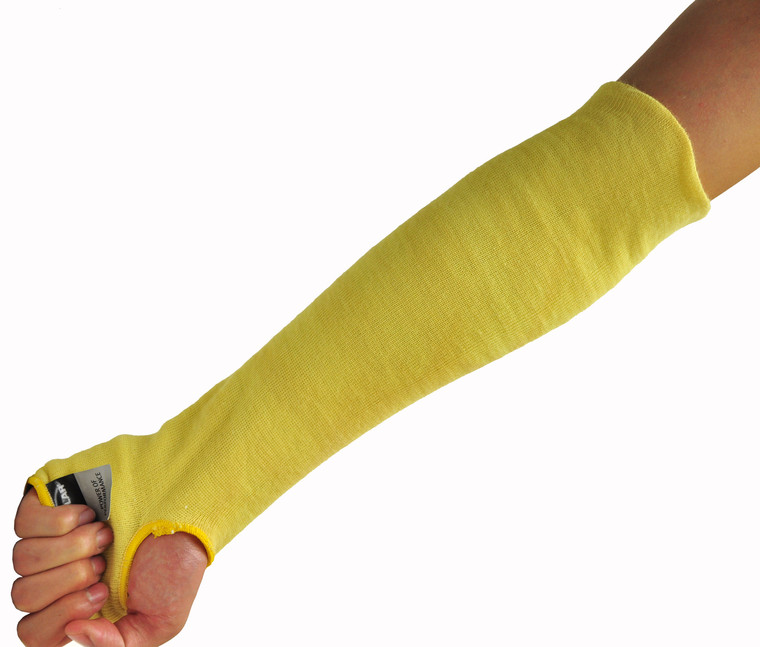 58123-1 100% Kevlar 18-Inch Cut Resistant Knit Sleeve with Thumb Hole, Yellow, Sold by 1 piece pack
