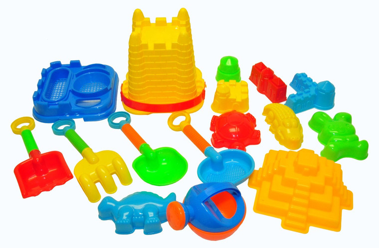 JustForKids 10061 Beach Toy Set, Summer Beach Fun Activity, Castle Bucket Sand Mold 16-Piece Set, Play Kit for Kids with Heavy Duty Reusable Mesh Bag