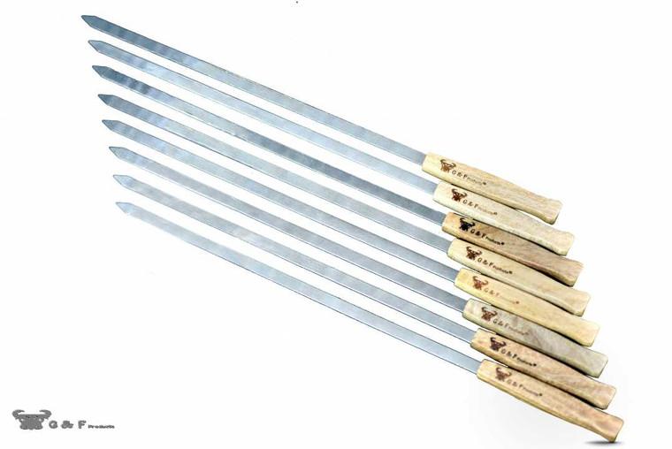 25618 17-Inch Long, Large Stainless Steel Brazilian-Style BBQ Skewers with hard wood Handle, Kebab Kabob Skewers, 3/8 Inch Wide Blade, Set of 8 Skewer with heavy duty Travel Bag