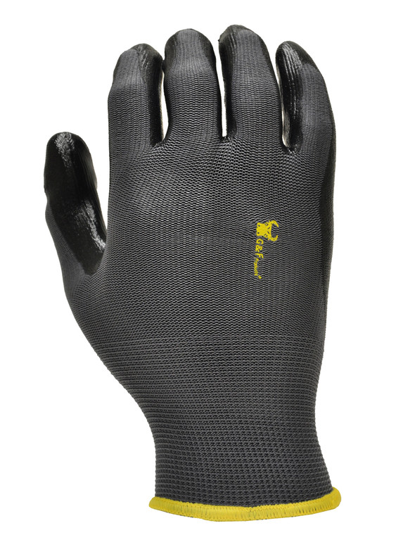 15196 Nitrile Coated Work Gloves, Garden Gloves, Black, Sold by each- 6 Pairs