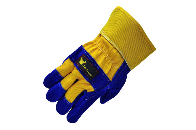 G & F 5018L Premium Cowhide Leather Palm Work Gloves, Drivers Gloves, Construction Gloves with Heavy Fabric Cotton Back & Rubberized Safety Cuff, Large Sold by each-1 Pair