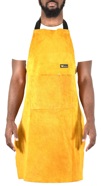 "G & F 9100-36 Leather Welding Apron Heat Flame Resistant Heavy Duty Work Apron with 2 Pockets, 36"" Long with back adjustable back and neck straps for Men & Women, color Brown"