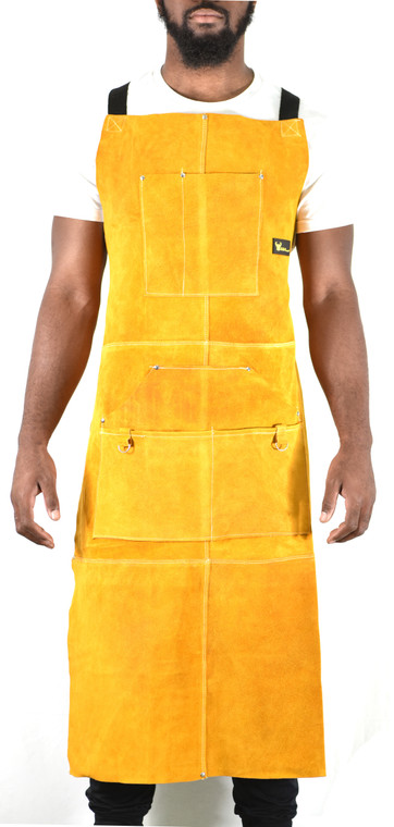 "G & F 9100-42  Leather Welding Apron Heat Flame Resistant Heavy Duty Work Apron with 6 Pockets, 42"" Long with back adjustable back and neck straps for Men & Women, color Brown"