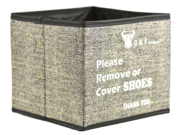 "G & F 13039  Shoe Covers Box, Foldable Collapsible Shoe Covers Holder Bootie Box holds up to 100 Disposable Shoe Covers Box for Realtors and Open House also works as Foldable Collapsible storage bin 9""x9""x9"""