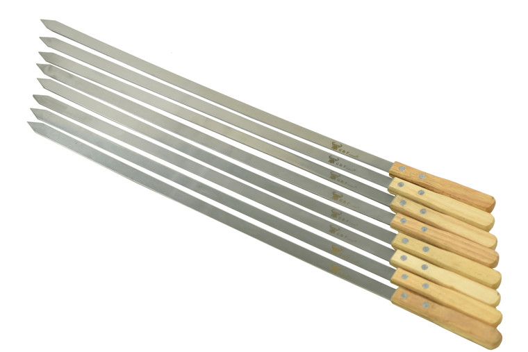 G & F Products 25619 2020 23 Inch Long 1 inch Wide 2mm Think Stainless Steel BBQ sweker 8 Piece, Silver