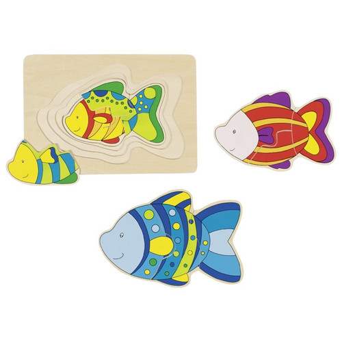 Goki fish layer puzzle 3 pieces per layer
