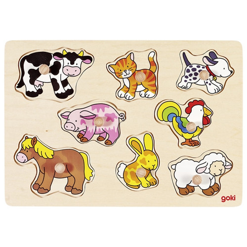 Goki farm animal peg puzzle 8 piece