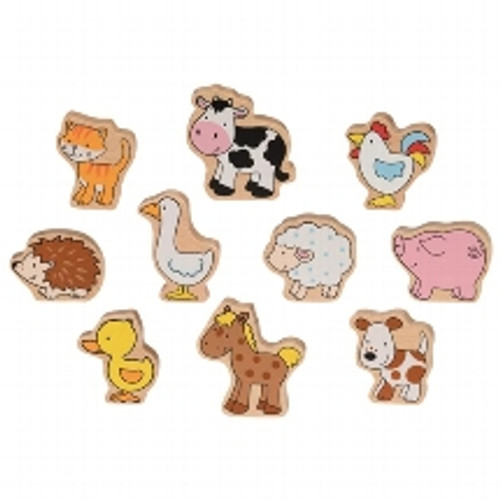 Wooden printed farm animals