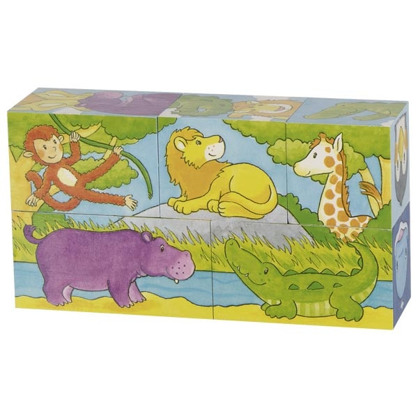 Goki safari and arctic cube puzzle 5 piece