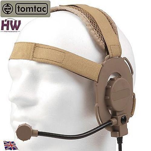 Tomtac Bowman Evo Iii 3 Headset Boom Mic Tan Sand De Helmet Radio Uk