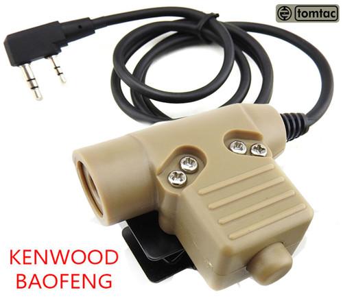 Tomtac U94 Ptt Tan 2 Way Radio Switch Sordins Comtac Kenwood 2 Pin Push