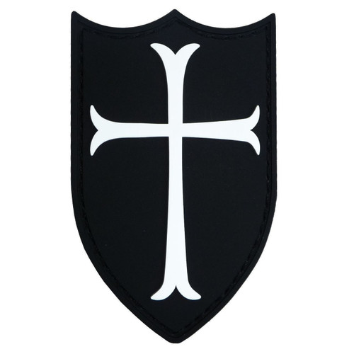 Crusader Cross Shield Rubber 3D Navy Seals Patch Black White Pvc Large